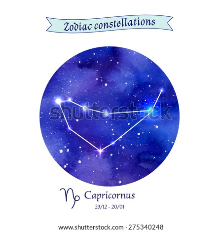 Zodiac constellation. Capricorn. The Goat. Vector illustration  - stock vector