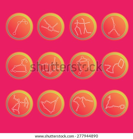 Zodiac constellations. Flat thin set of simple round zodiac constellations icons on color background - for web and print.Vector illustration - stock vector