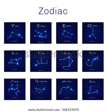 Zodiac constellations -  Leo, Virgo, Scorpio, Libra, Aquarius, Sagittarius, Pisces, Capricorn, Taurus, Aries, Gemini, Cancer. Vector illustration - stock vector