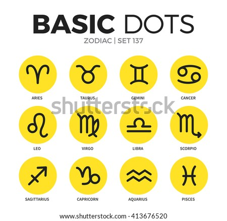 Zodiac flat icons set with taurus, aries and libra isolated vector illustration on white - stock vector