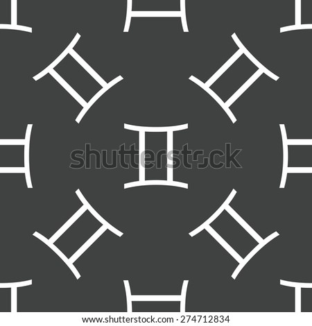 Zodiac Gemini symbol repeated on grey background - stock vector