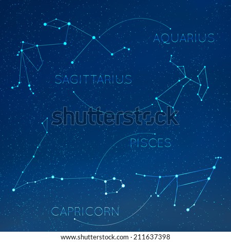 Zodiac, horoscope constellation in skyline with many other stars. Aquarius, sagitarius, pisces, capricorn vector illustraion - stock vector