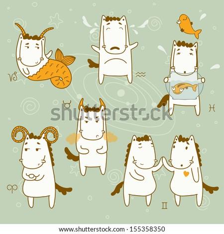 Zodiac icon set. Capricorn, taurus, aquarius, pisces, gemini, aries. Year of the Horse. Eps 10 - stock vector
