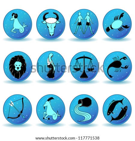 Zodiac Icon Set in blue tones - stock vector