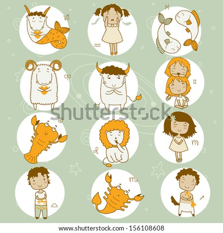 Zodiac icon set. Sagittarius, cancer, leo, libra, virgo, scorpio, ?apricorn, taurus, aquarius, pisces, gemini, aries.  - stock vector