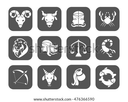 Zodiac icons. Set of simple flat zodiac icons - for web and print. Vector set (horoscope or astrology symbols collection)