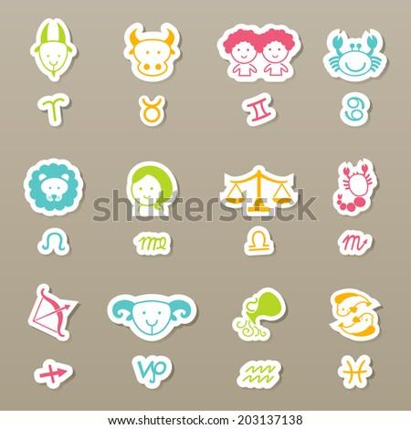 zodiac icons set vector - stock vector
