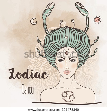 Zodiac: Illustration of cancer astrological sign as a beautiful girl. Vector art. Vintage boho style fashion illustration. Design for coloring book page for adults and kids. - stock vector