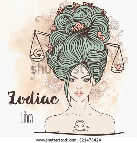 Zodiac: Illustration of Libra zodiac sign as a beautiful girl. Vector art.  Vintage boho style fashion illustration. Design for coloring book page for adults and kids. - stock vector