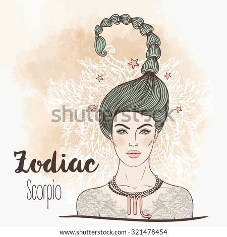 Zodiac: Illustration of Scorpio zodiac sign as a beautiful girl. Vector illustration.  Vintage boho style fashion illustration. Design for coloring book page for adults and kids. - stock vector