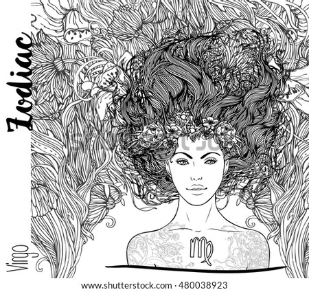 Zodiac: illustration of Virgo zodiac sign as a beautiful girl. Vector art with portrait of a pretty girl. Black, white  drawing over ornate pattern. Horoscope coloring book page for adults.