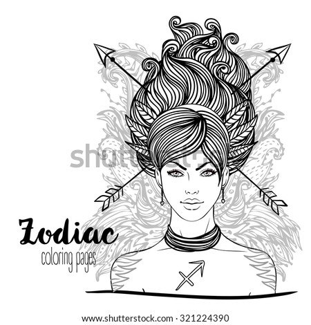 Zodiac: Sagittarius astrological sign as a beautiful girl. Vector illustration. Black and white drawing isolated on white. Design for coloring book page for adults and kids. - stock vector