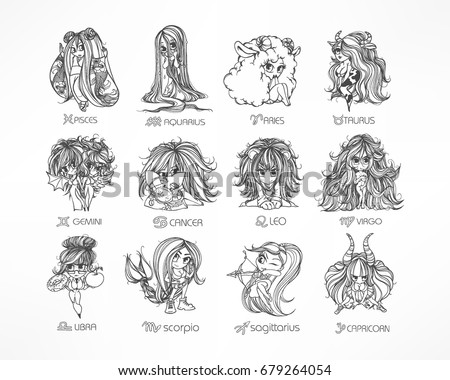 Zodiac Set Astrological Sign Vector Illustration Of A Chibi Character Horoscope Symbols