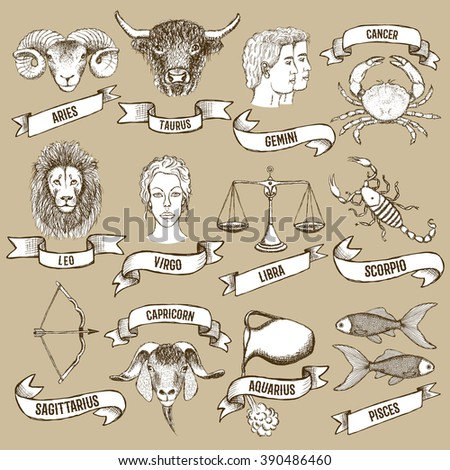 Zodiac set with ribbons in vintage style, vector - stock vector