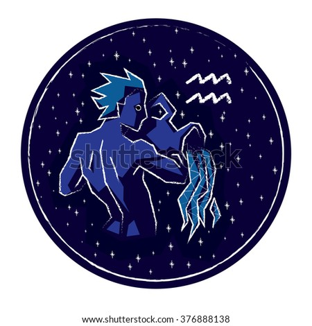 Zodiac sign Aquarius on night starry sky background in circle frame. Vector illustration.