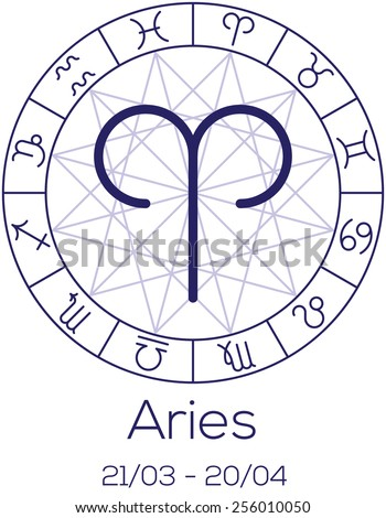 Zodiac sign - Aries. Astrological chart with symbols in wheel with polygonal background. Deep blue color with caption and dates. Vector illustration. - stock vector