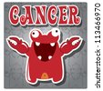 Zodiac sign Cancer with cute colorful monster, vector - stock vector