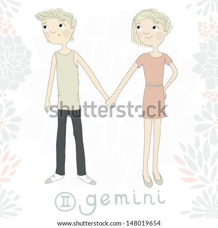 Zodiac sign Gemini. Twin brother and sister hold each other's hand eps 10 - stock vector