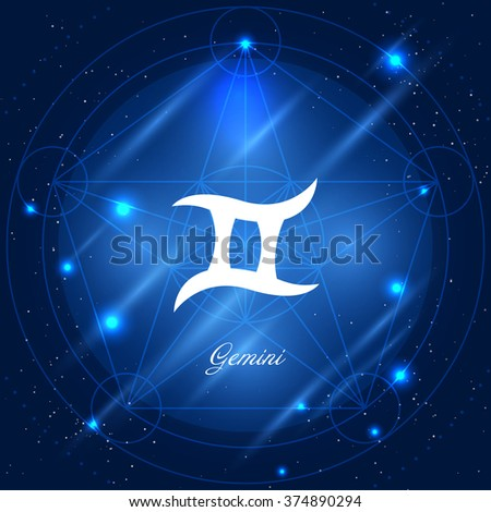 Zodiac sign gemini. Vector space background with geometric ornament - stock vector