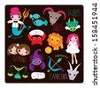 Zodiac sign illustrations horoscope symbol element set illustration background in vector  - stock vector