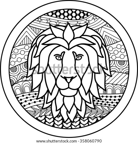 Stylized icons of zodiac signs stock images royalty free for Leo coloring pages