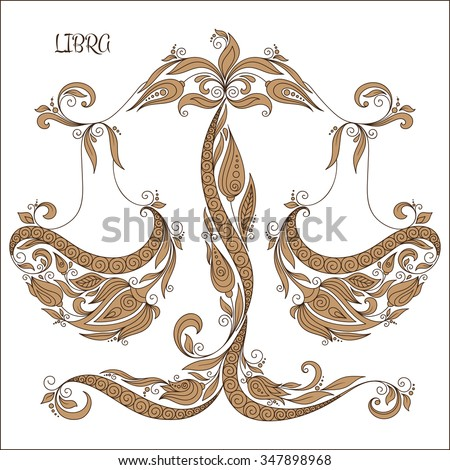 Zodiac sign - Libra. Hand drawn doodle scorpion with elements of the ornament in ethnic style, of lace flowers, tendrils and leaves . Vector illustration, Isolated on white. - stock vector