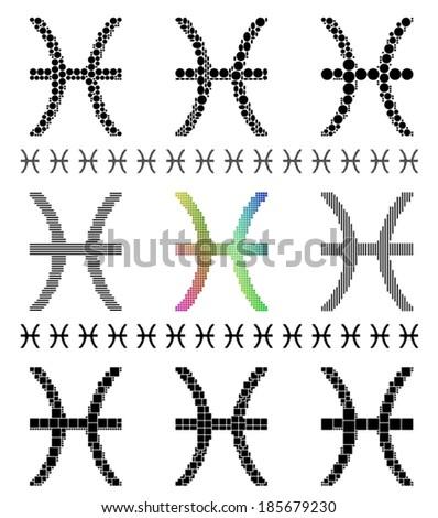 Zodiac Sign Mosaic Set Symbol Pisces Stock Vector 185679230