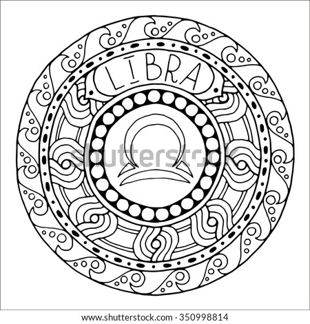 zodiac sign of libra and constellation in mandala with ethnic pattern set of black and