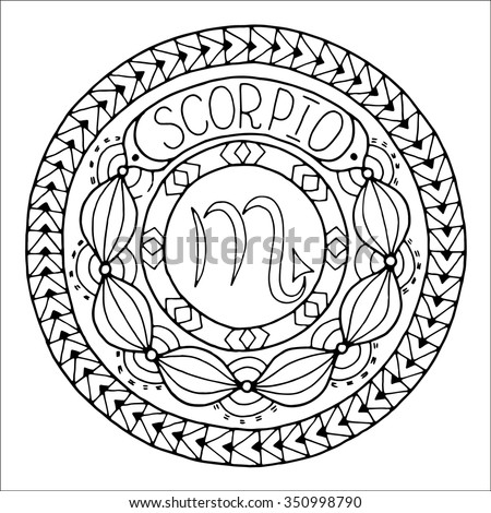 Zodiac sign of scorpio and constellation in mandala with ethnic pattern. Black and white icon. Horoscope and zodiacal template. Can be used for magazine, coloring book. Hand drawn doodle circle. - stock vector