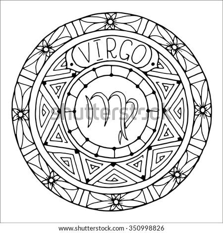Zodiac Sign Virgo Constellation Mandala Ethnic Stock
