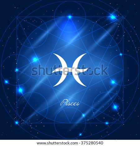 Zodiac sign pisces. Vector space background with geometric ornament - stock vector