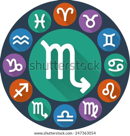 Zodiac sign - Scorpio (Scorpion). Astrological symbol. Flat rounded icons with long shadow. Vector illustration. - stock vector
