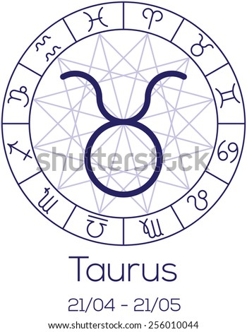 Zodiac sign - Taurus. Astrological chart with symbols in wheel with polygonal background. Deep blue color with caption and dates. Vector illustration. - stock vector