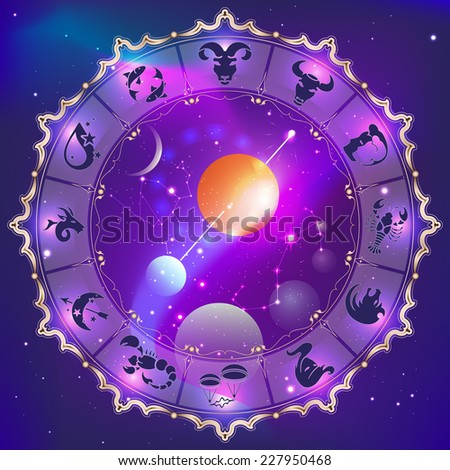 zodiac signs, abstract zodiac circle in space, vector illustration - stock vector