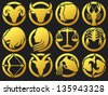 zodiac signs buttons (zodiac - black silhouettes, set of zodiac signs buttons, stylized icons of zodiac signs, set of horoscope symbols, astrology symbols set) - stock photo