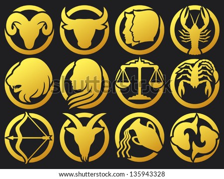 zodiac signs buttons (zodiac - black silhouettes, set of zodiac signs buttons, stylized icons of zodiac signs, set of horoscope symbols, astrology symbols set) - stock vector