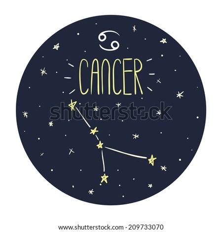 Zodiac signs doodle set - Cancer - stock vector