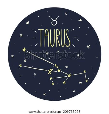 Zodiac signs doodle set - Taurus - stock vector