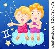 Zodiac signs - Gemini vector Illustration - stock photo