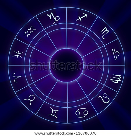 Zodiac Signs Horoscope - Vector illustration On Blue Background - stock vector