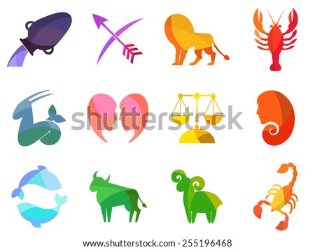 Zodiac signs icons. Set of mosaic red, orange, yellow, purple, violet, pink, blue, green, strawberry ice, brown illustrations for design. - stock vector