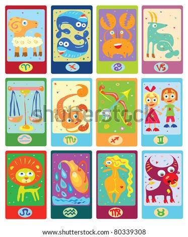 Zodiac signs in cartoon style (vector) - stock vector