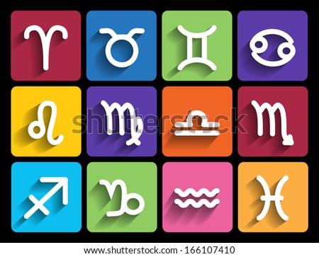 Zodiac signs in flat style. Set of colorful square icons - stock vector