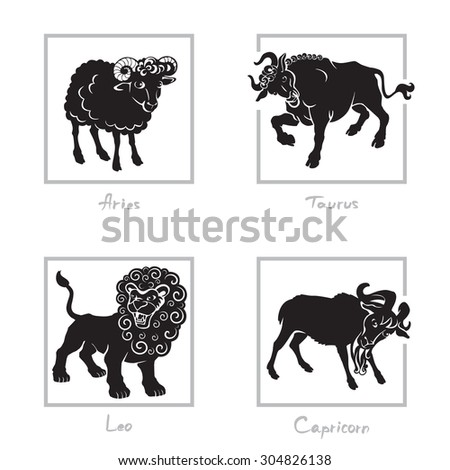 Zodiac signs - Leo, Taurus, Capricorn, Aries. Black and white isolated vector image. - stock vector