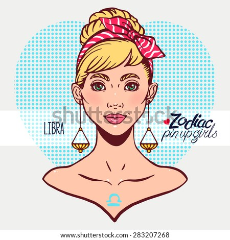 Zodiac signs - Libra as a girl in the style of pin-up. Hand-drawn illustration - stock vector