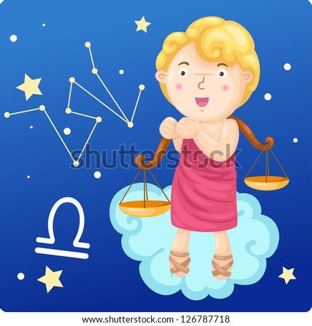 Zodiac signs - Libra vector Illustration - stock vector