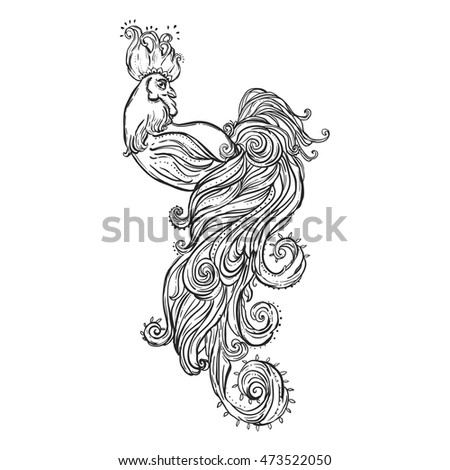 New Coloring Books For Adults : Zodiac signs rooster chinese new year stock vector 468122348