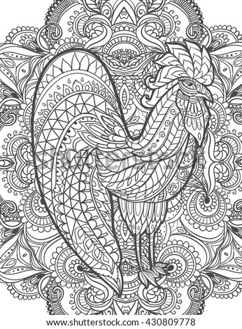 New Coloring Books For Adults : Zodiac signs rooster chinese new stock vector 430809778