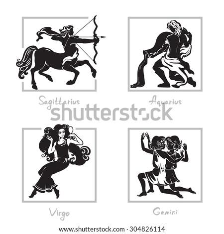 Zodiac signs - Sagittarius, Virgo, Aquarius, Gemini. Black and white isolated vector image. - stock vector