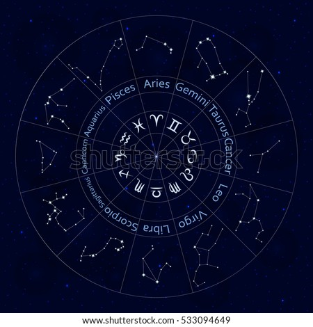 Zodiac Signs Set All Horoscope Constellation Stock Photo Photo